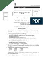 2009 Biology Examination Paper