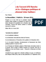 Accord d'El Rancho, Version Le Nouvelliste, 20 mars 2014
