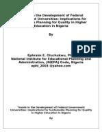 Trends in the Development of Federal Universities 1