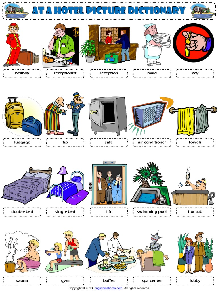 At a Hotel Vocabulary Pictionary Poster Worksheet