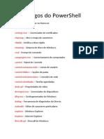Códigos do PowerShell