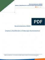 Recomendaciones AEEED Limpieza y desinfección en Endoscopia Gastrointestinal