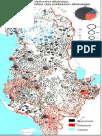 Albania -Harta Repartitiei Confesiunilor Albaneze