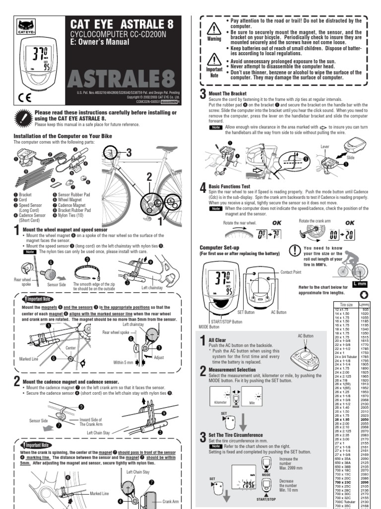 Cateye Astrale 8 Manual Tire Speed