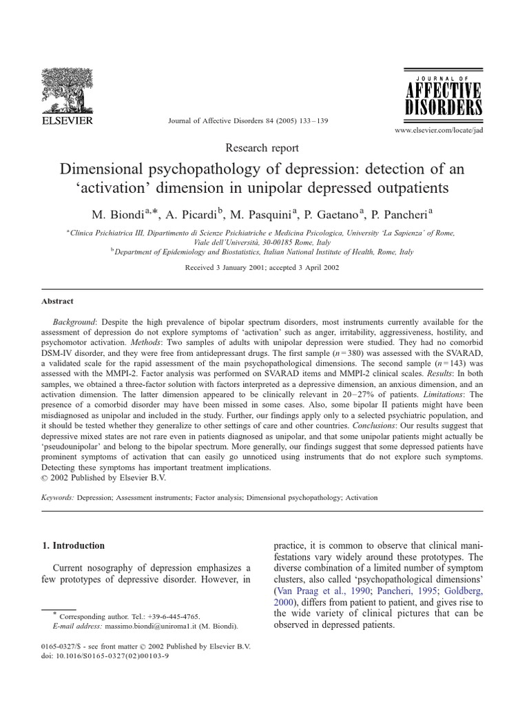 Dimensional Psychopathology Of Depression Detection Of An
