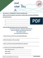 Worksheet 2 Webquest World Water Day