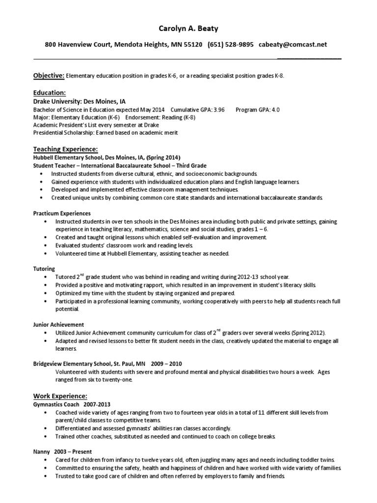 Carolyn a  Beaty Resume | Tutor | Teachers
