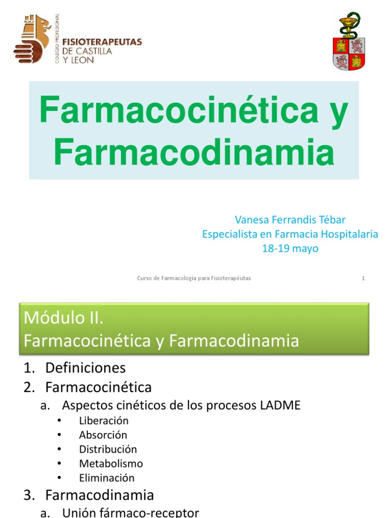 Farmacocin tica y farmacodinamia for Farmacologia para fisioterapeutas