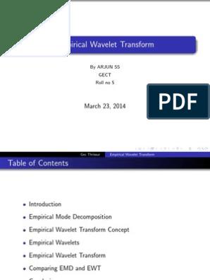 EMPIRICAL WAVELET TRANSFORM   Wavelet   Fourier Analysis