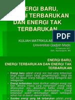 Energi Baru, Energi Terbarukan Dan Energi Tak Terbarukan