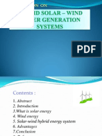 HYBRID SOLAR – WIND POWER GENERATION SYSTEMS