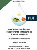 1er CURSO –TALLER AGROHOMEOPATÍA PARA PRODUCTORES CITRÍCOLAS DE ÁLAMOS, VERACRUZ
