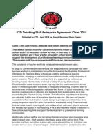 The AEUs ETD Teaching Staff Enterprise Agreement Claim 2014