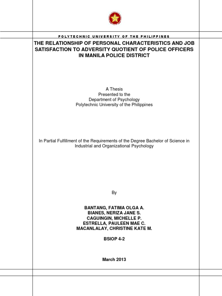 PUP Sample Thesis | Coping (Psychology) | Psychological Resilience