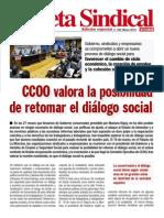 2014 03 Gaceta Sindical n 195 CCOO Valora La Posibilidad de Retomar El Dialogo Social