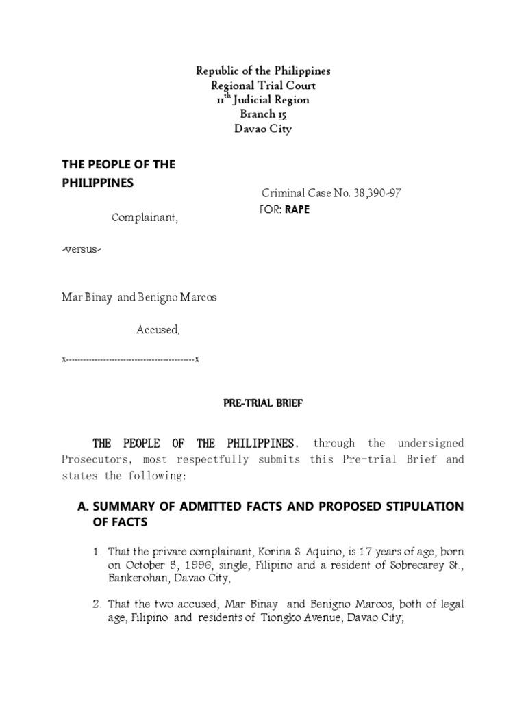 Pre Trial Brief Criminal sample | Rape | Affidavit