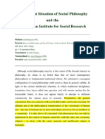 The Present Situation of Social Philosophy and The