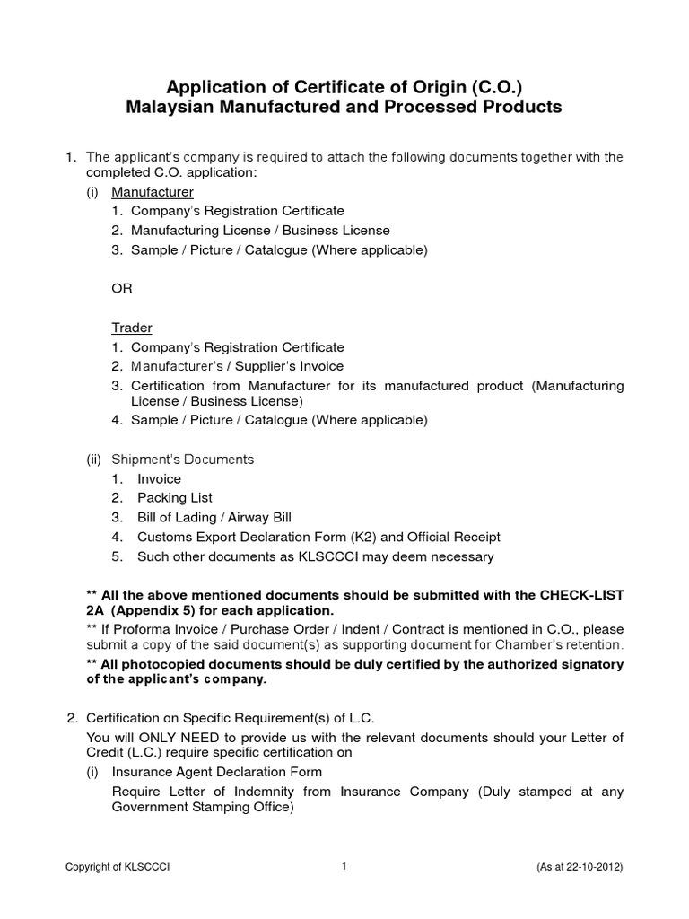 Malaysian Origin Bill Of Lading Invoice