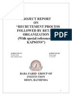 Recruitment process followed by a retail organization