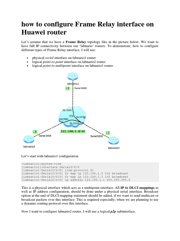 How to Configure Frame Relay Interface on Huawei Router   Ip Address ...