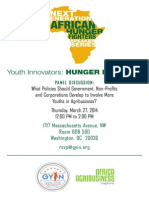 Next Generation of African Hunger Fighters Speaker Series