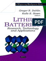Lithium Batteries Research Technology and Applications Electrical Engineering Developments