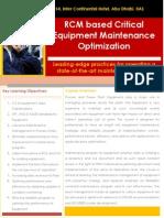 RCM Based  Critical Equipment Training
