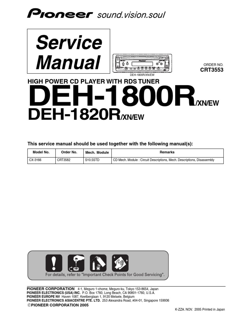 Pioneer DEH 1800R Service Manual | Electrical Connector ...
