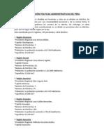 Regiones Politicas Administrativas Del Peru