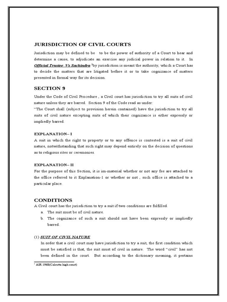 jurisdiction of civil courts | tribunal | lawsuit