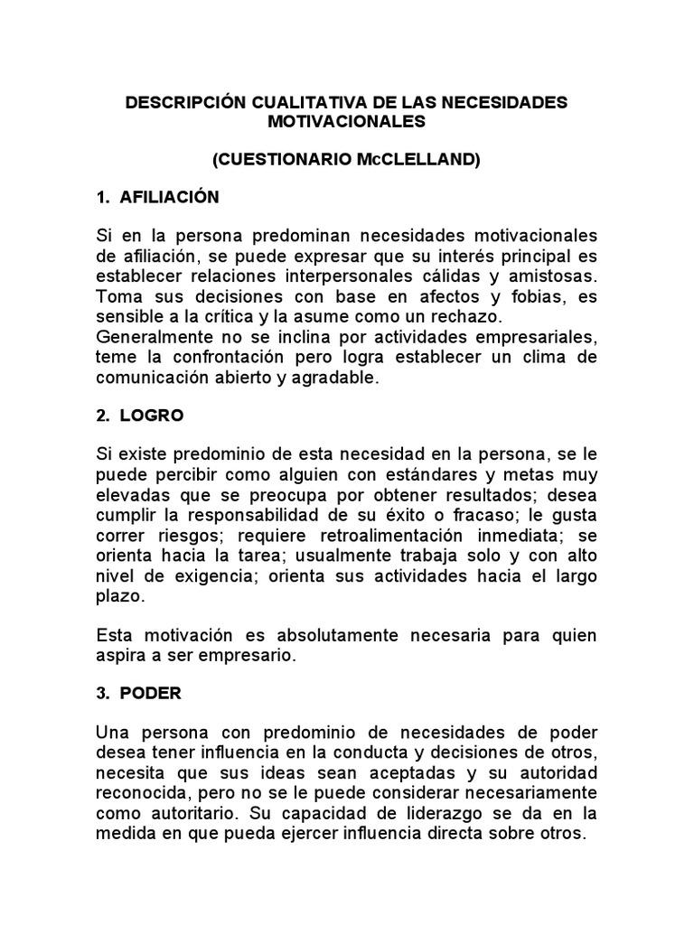 Cuestionario Mcclelland Doc Toma De Decisiones Liderazgo