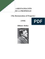 BELLOC Hillaire_La restauración de la propiedad (1936)