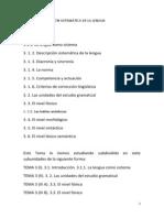 Tema 3 (i). 3.1. Introduccion. 3.1.2. Descripcion Sistematica de La Lengua