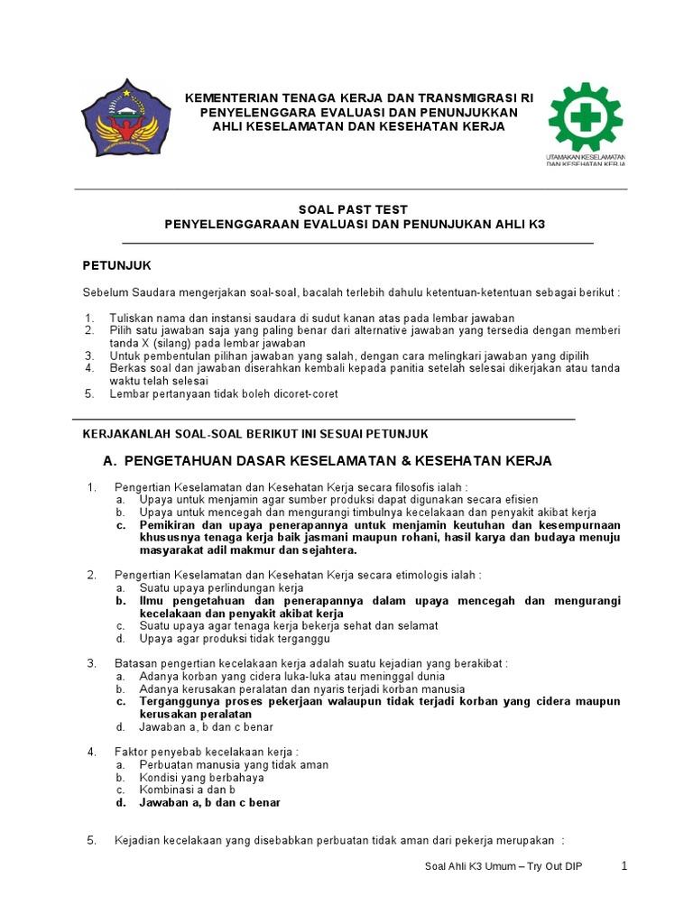 Soal Dan Jawaban K3lh Essay Contoh Soal