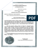 Certificate of Filing of Amended Aoi