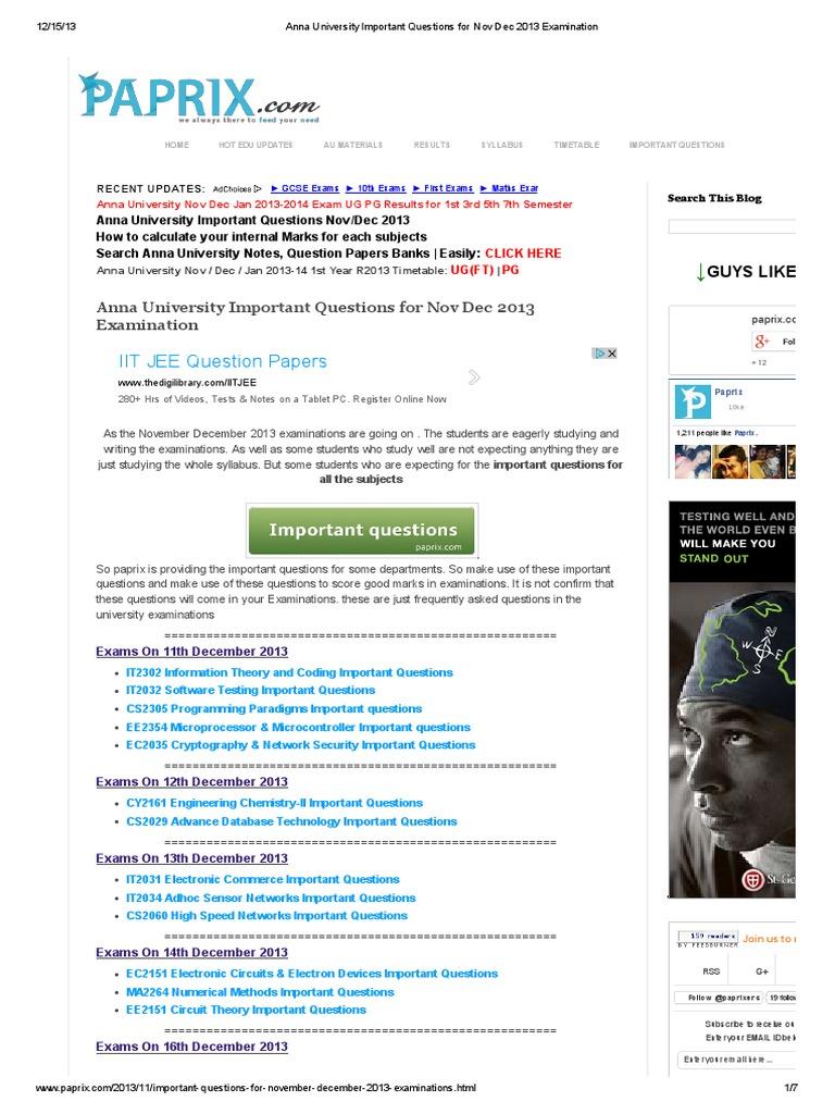 anna university important questions for nov dec 2013