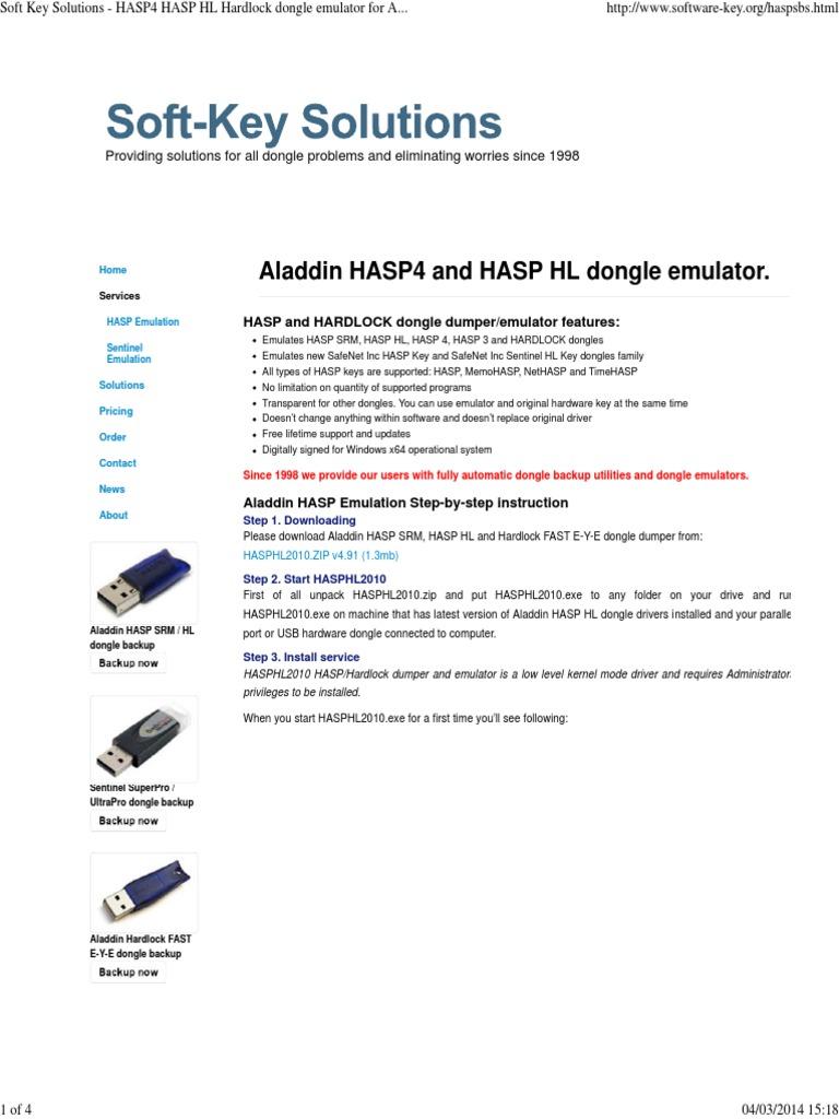 hasp dongle emulator windows 7