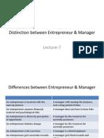 Distinction Between Entrepreneur & Manager