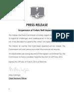 Press Release Inspection Suspension