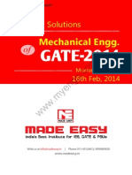 GATE 2014 Mechanical Engineering Keys & Solution on 16th (Morning Session)
