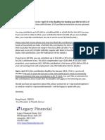 Deadlines for funding IRAs