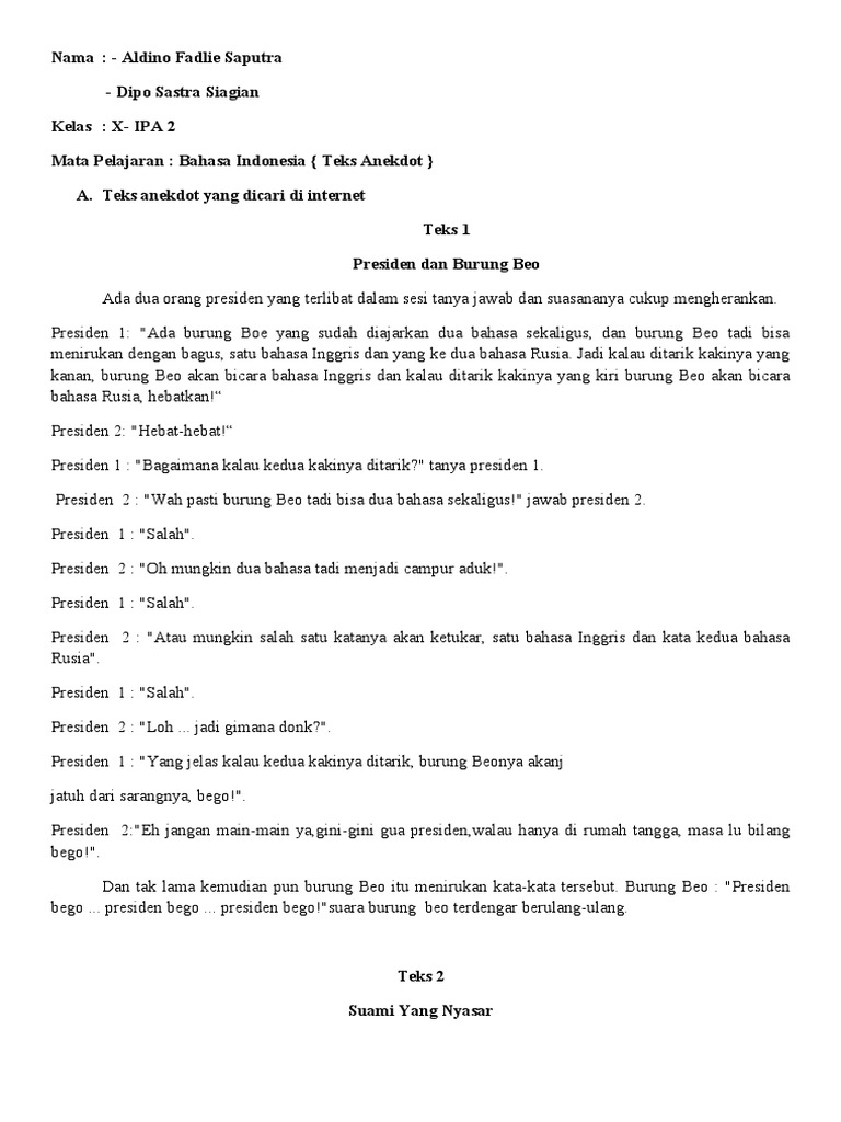 Teks Anekdot Lucu Tanpa Dialog