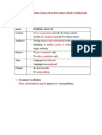 summary of problems observed in the feature article writing task