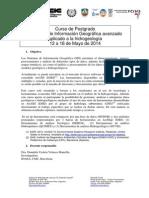 """1ª edición Curso de Postgrado """"SIG avanzado aplicado a la hidrogeología"""" - PROGRAMA"""