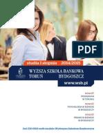Informator 2014 - studia I stopnia - Wyższa Szkoła Bankowa w Toruniu i Bydgoszczy.