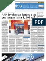 AFP devolverán fondos a los que tengan hasta 105 mil