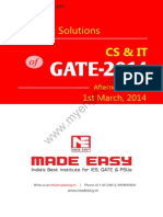 GATE 2014 Computer Science Engineering  / Information Technology Keys & Solution on 1st March (Afternoon Session)