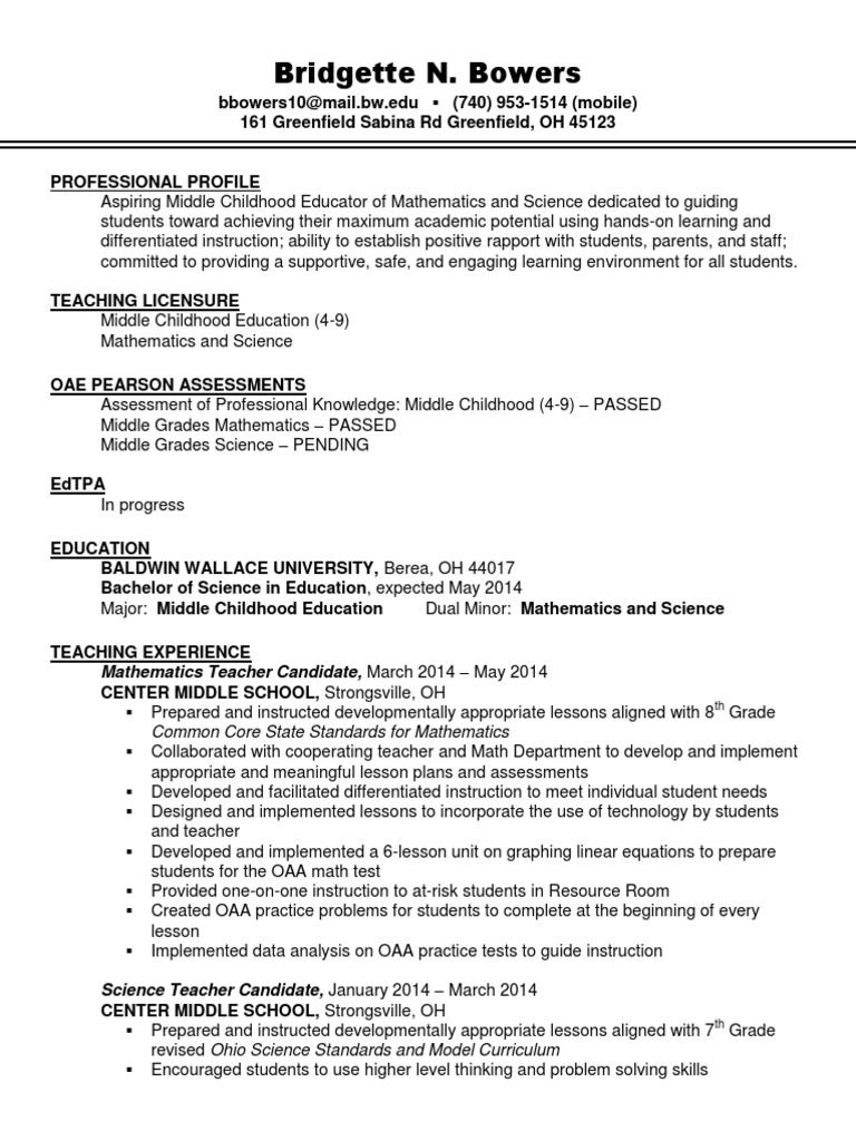 Bridgette Bowers Resume Differentiated Instruction Educational