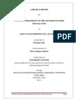 38865778 Preference Among Advisors Towards Mutual Fund at KARVY STOCK BROKING LTD Gagandeep