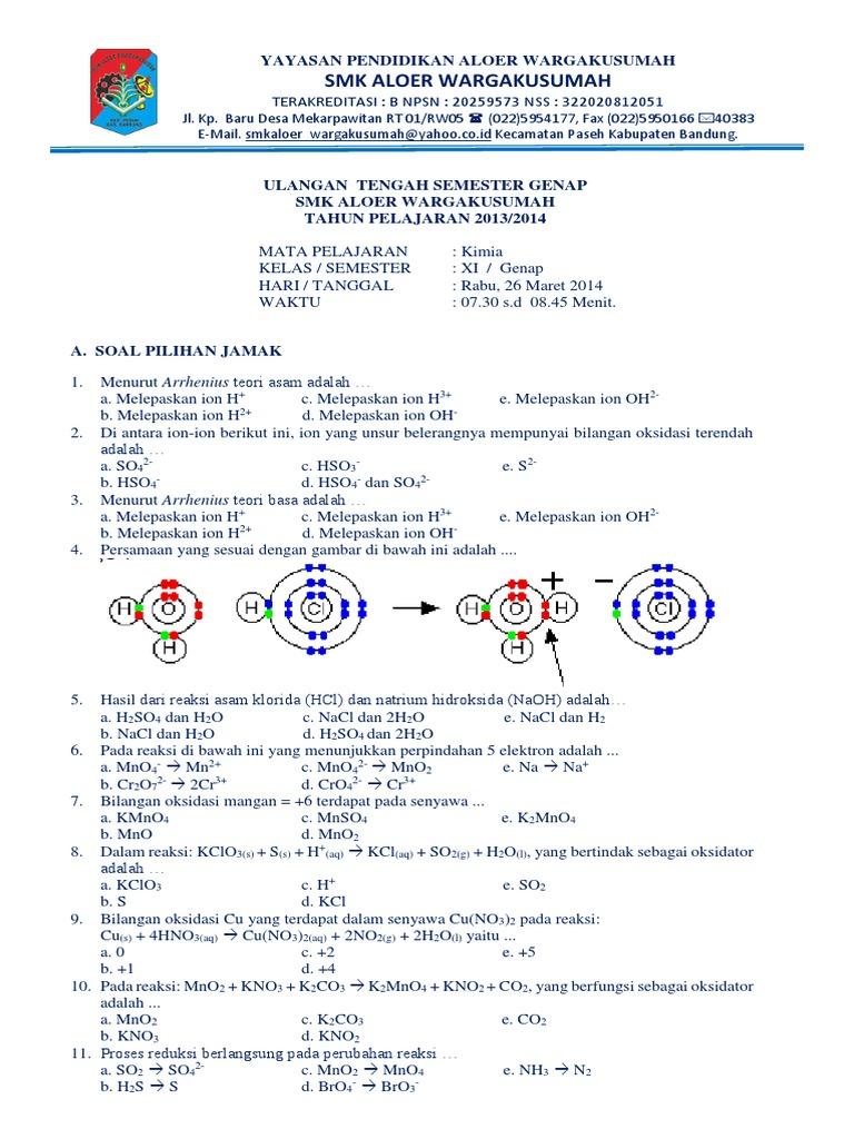 Soal Uts Kimia Smk Kelas Xi Semester 2